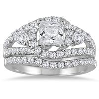 2 Carat TW Princess Cut Antique Diamond Bridal Set in 14K White Gold