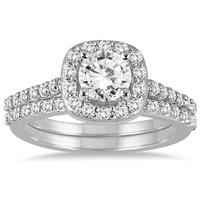 AGS Certified 1 1/3 Carat TW Diamond Halo Bridal Set in 14K White Gold (H-I Color, I1-I2 Clarity)