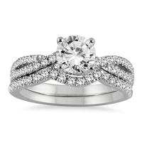 AGS Certified 1 1/3 Carat TW Diamond Bridal Set in 14K White Gold (H-I Color, I1-I2 Clarity)