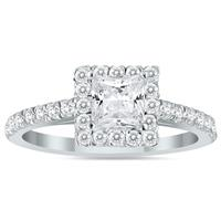 1 1/4 Carat TW Princess Cut Diamond Bridal Set in 14K White Gold