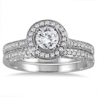 7/8 Carat TW Diamond Antique Engraved Halo Bridal Set in 14K White Gold
