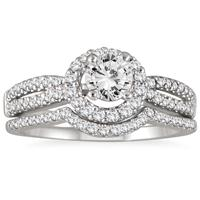 AGS Certified 1 1/5 Carat Diamond Halo Bridal Set in 14K White Gold (I-J Color, I2-I3 Clarity)
