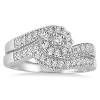 1/3 Carat TW Cluster Diamond Bridal Set in 10K White Gold