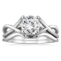 AGS Certified 1 Carat Diamond Bridal Set in 14K White Gold (J-K Color, I2-I3 Clarity)