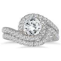 AGS Certified 1 1/2 Carat TW Curved Diamond Bridal Set in 14K White Gold (H-I Color, I1-I2 Clarity)