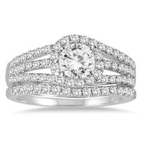 AGS Certified 1 1/2 Carat TW Halo Twist Diamond Bridal Set in 14K White Gold  (H-I Color, I1-I2 Clarity)
