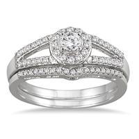 1/2 Carat TW Split Shank Diamond Bridal Set in 10K White Gold