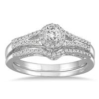 1/3 Carat TW Diamond Halo Bridal Set in 10K White Gold (K-L Color, I2-I3 Clarity)