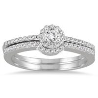 2/5 Carat TW Diamond Halo Bridal Set in 10K White Gold