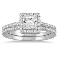 1 1/6 Carat TW Halo Princess Cut Diamond Bridal Set in 14K White Gold