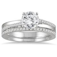 AGS Certified 1 1/4 Carat TW Diamond Bridal Set in 14K White Gold (J-K Color, I2-I3 Clarity)