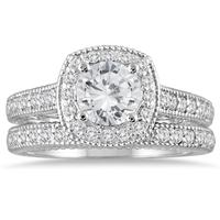 AGS Certified 1 5/8 Carat TW Diamond Halo Antique Bridal Set in 14K White Gold (J-K Color, I2-I3 Clarity)