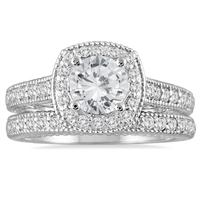 AGS Certified 1 5/8 Carat TW Diamond Halo Bridal Set in 14K White Gold (H-I Color, I1-I2 Clarity)