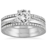 AGS Certified 1 2/5 Carat TW Diamond Three Piece Bridal Set in 14K White Gold (J-K Color, I2-I3 Clarity)