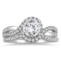 1 1/3 Carat TW Diamond Bridal Set in 14K White Gold