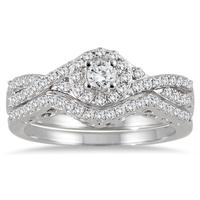 3/4 Carat TW Braided Diamond Halo Bridal Set in 10K White Gold