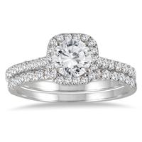 AGS Certified 1 3/8 Carat TW Round Diamond Halo Bridal Set in 14K White Gold (H-I color, I1-I2 Clarity)