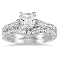 1 3/5 Carat TW Princess Diamond Bridal Set in 14K White Gold