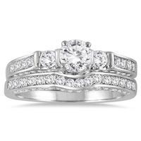 1 1/8 Carat TW Three Stone Diamond Bridal Set in 14K White Gold