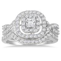 1 Carat TW Double Row Halo Princess Diamond Bridal Set in 10K White Gold (K-L Color, I2-I3 Clarity)