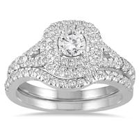 1 Carat TW Diamond Halo Bridal Set in 14K  White Gold