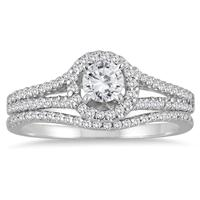 7/8 Carat TW Diamond Halo Bridal Set in 10K White Gold