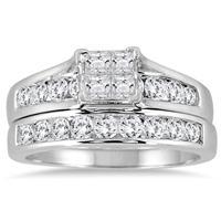 1 Carat TW Princess Diamond Bridal Set in 10K White Gold