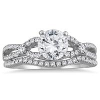 AGS Certified 1 1/3 Carat TW Diamond Bridal Set with Stones in 14K White Gold (J-K Color, I2-I3 Clarity)