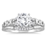 AGS Certified 1 1/6 Carat TW Diamond Bridal Set in 14K White Gold (I-J Color, I2-I3 Clarity)