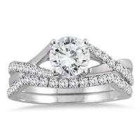 1 3/8 Carat TW Diamond Bridal Set in 14K White Gold (I-J Color, I2-I3 Clarity)