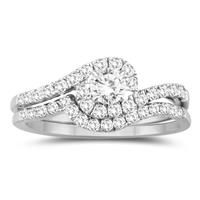3/4 Carat TW Diamond Engagement Ring and Wedding Band Bridal Set in 10K White Gold
