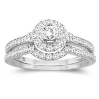 7/8 Carat TW Diamond Engagement Ring and Wedding Band Bridal Set in 10K White Gold
