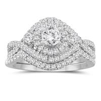 1 1/10 Carat TW Diamond Engagement Ring and Wedding Band Bridal Set in 10K White Gold