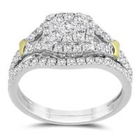 7/8 Carat TW Diamond Engagement Ring and Wedding Band Bridal Set in 10K Two Tone Gold
