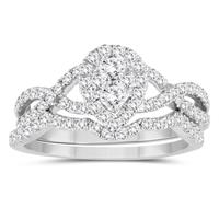 1 Carat TW Diamond Engagement Ring and Wedding Band Bridal Set in 10K White Gold