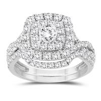 1 5/8 Carat TW Diamond Halo Bridal Set in 10K White Gold