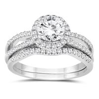 1 1/4 Carat TW Diamond Engagement Ring and Wedding Band Bridal Set in 10K White Gold