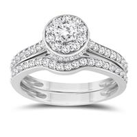 1 5/8 Carat TW Diamond Engagement Ring and Wedding Band Bridal Set in 10K White Gold