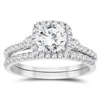 1 1/5 Carat TW Diamond Engagement Ring and Wedding Band Bridal Set in 10K White Gold