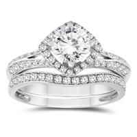 1 1/8 Carat TW Diamond Engagement Ring and Wedding Band Bridal Set in 10K White Gold