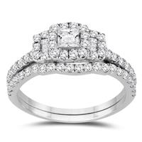 1 Carat TW Princess Diamond Engagement Ring and Wedding Band Bridal Set in 10K White Gold