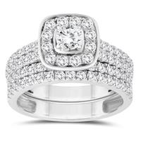 1 7/8 Carat TW Diamond Halo Engagement Ring and Wedding Band Bridal Set in 10K White Gold