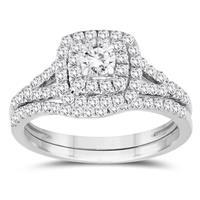 1 1/5 Carat TW Diamond Halo Engagement Ring and Wedding Band Bridal Set in 10K White Gold