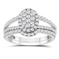 1 Carat TW Diamond Cluster Engagement Ring in 10K White Gold