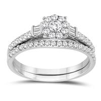 5/8 Carat TW Round and Baguette Diamond Bridal Set in 10K White Gold