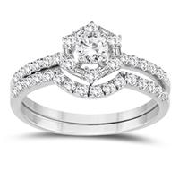1 Carat TW Round and Baguette Diamond Bridal Set in 10K White Gold