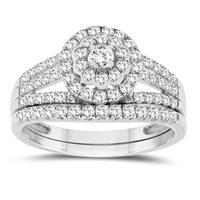 7/8 Carat TW Engagement Ring and Wedding Band Bridal Set in 10K White Gold