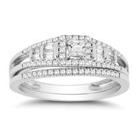 1/2 Carat TW Princess Round and Baguette Diamond Bridal Set in 10k White Gold