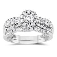 1 Carat TW Diamond Halo Engagement Ring and Wedding Band Bridal Set in 10K White Gold