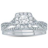 1 Carat TW Diamond Halo Bridal Set in 10K White Gold